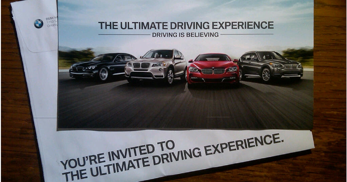 example of BMW's direct mail marketing campaign