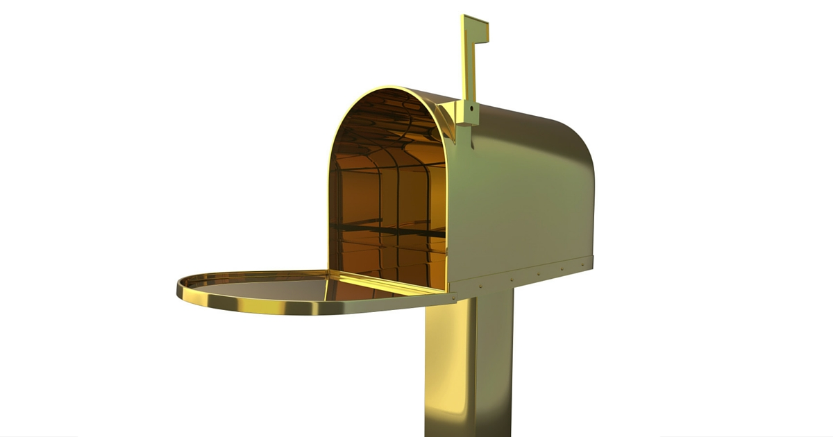 gold mailbox demonstrates how direct mail is still gold for real estate agents