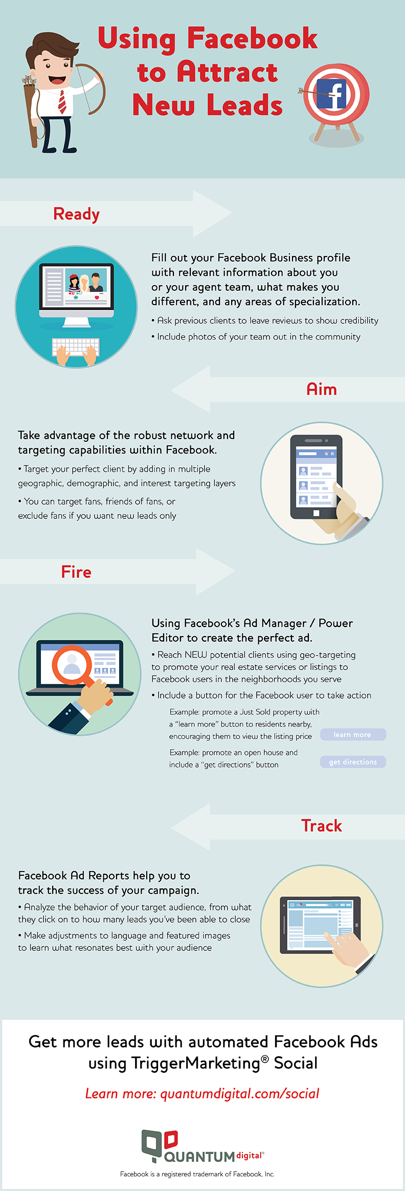 infographic on how to attract new leads using facebook