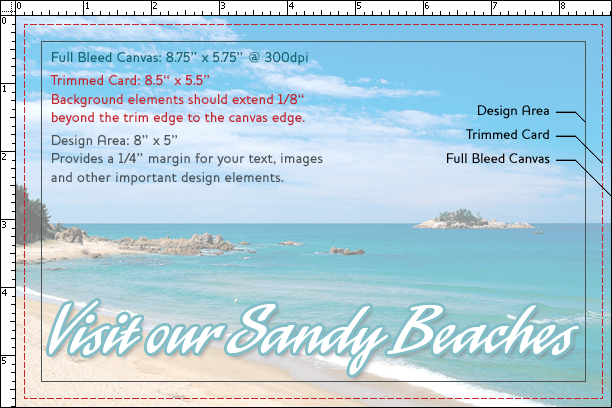 postcard layout and size example with margin and cropping allowance information