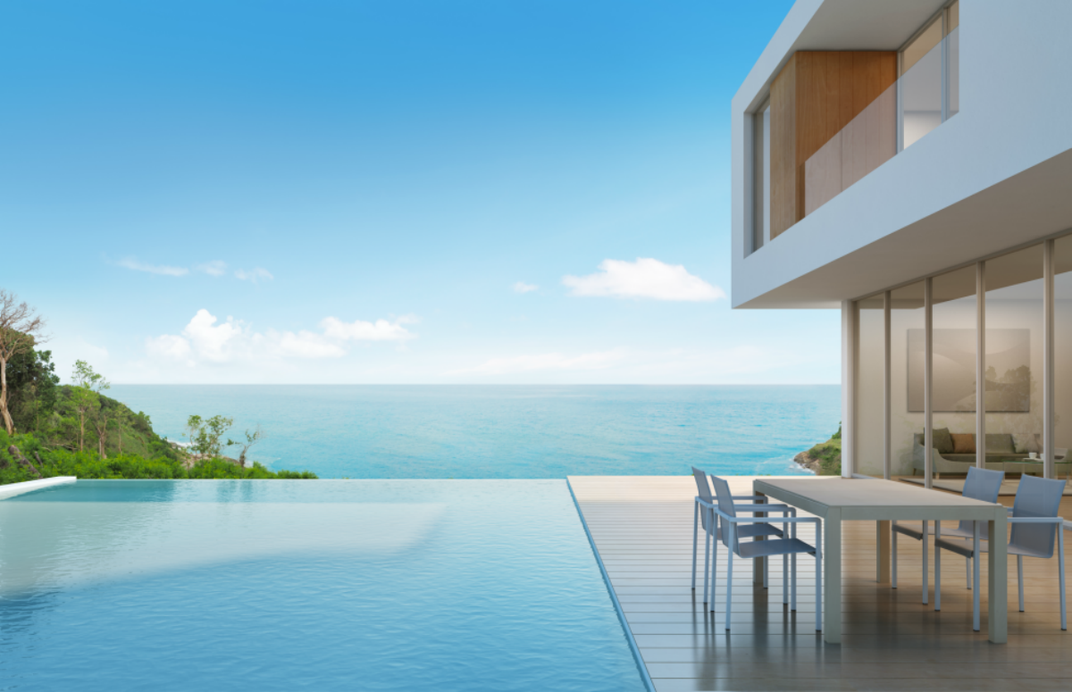 infinity pool at a luxury real estate property
